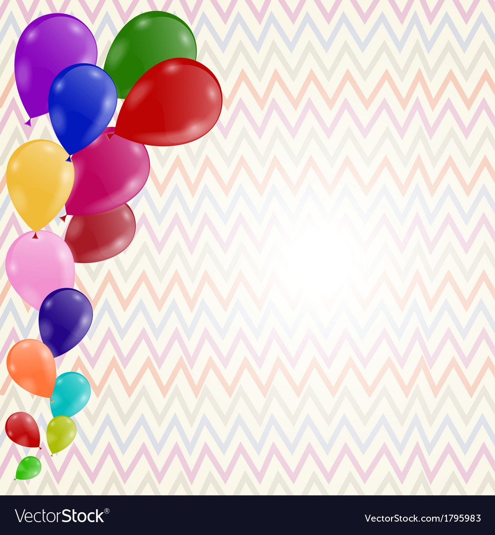Colored background with balloons on a postcard vector | Price: 1 Credit (USD $1)