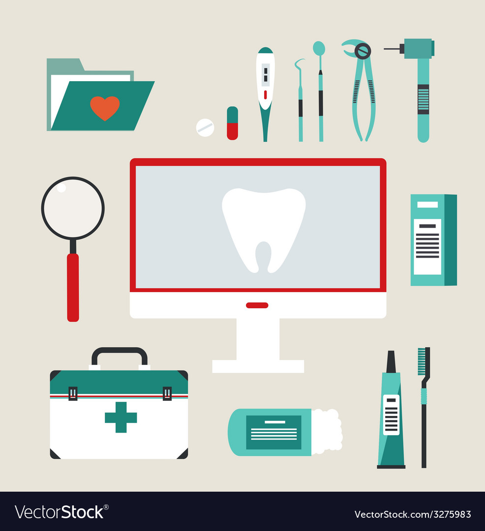 Desktop dentist vector | Price: 1 Credit (USD $1)