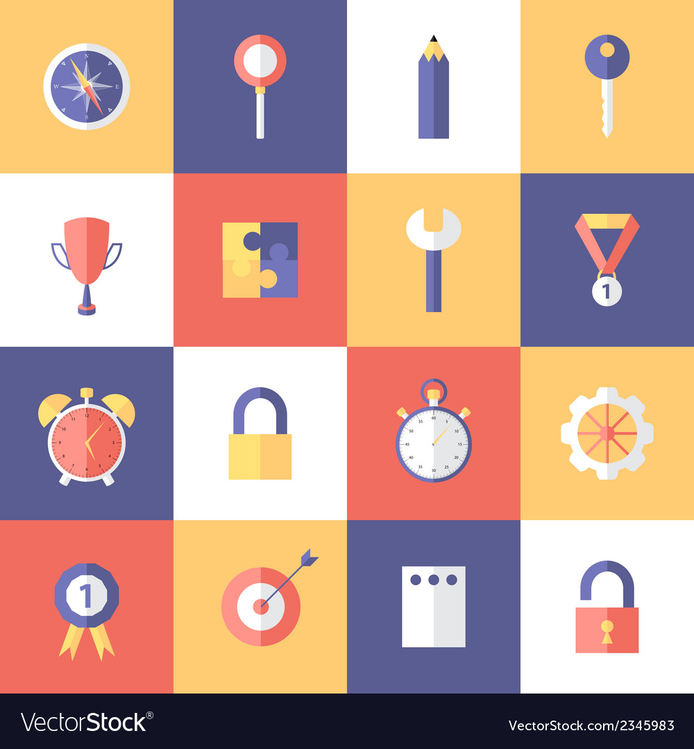 Flat business icons set vector | Price: 1 Credit (USD $1)