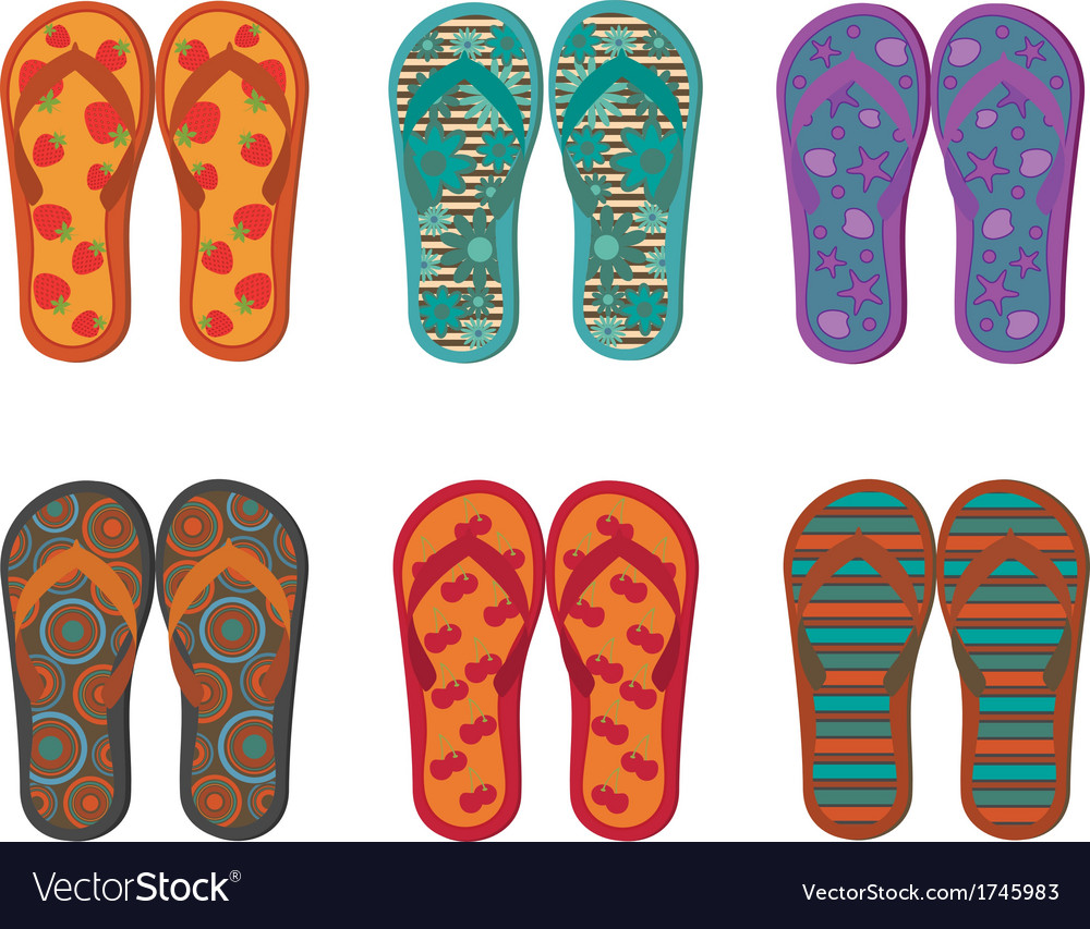 Flip flops collection vector | Price: 1 Credit (USD $1)