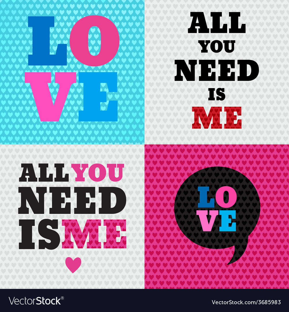 Set of 4 valentines day and typography elements b vector   Price: 1 Credit (USD $1)