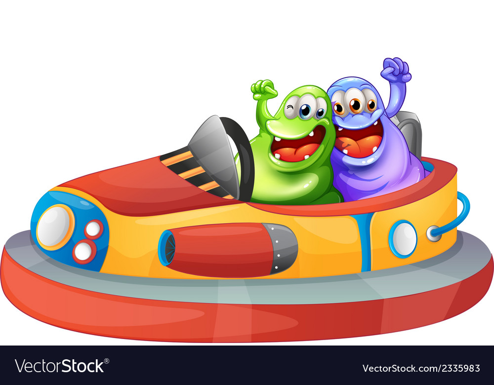 Two monsters playing with the bumpcars vector | Price: 1 Credit (USD $1)