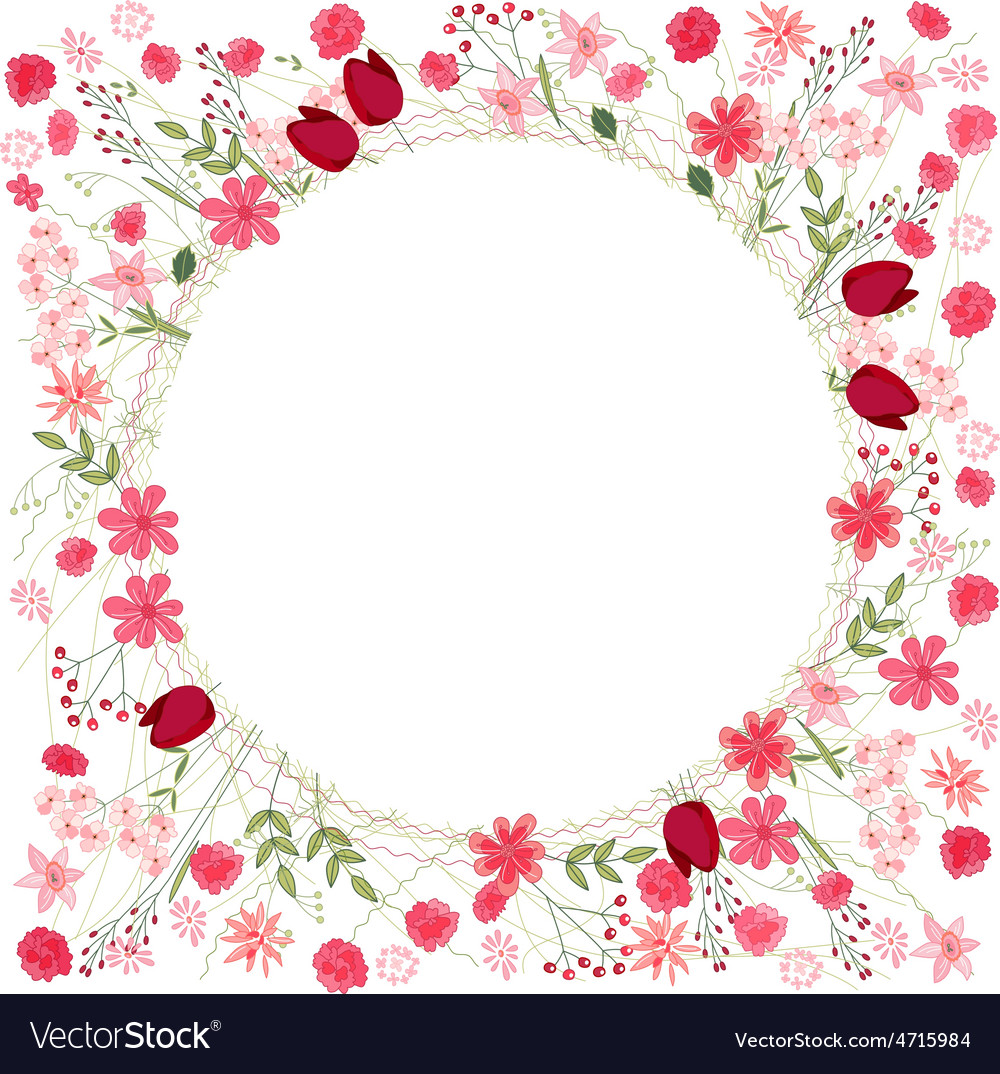 Detailed contour wreath with herbs tulips and vector | Price: 1 Credit (USD $1)