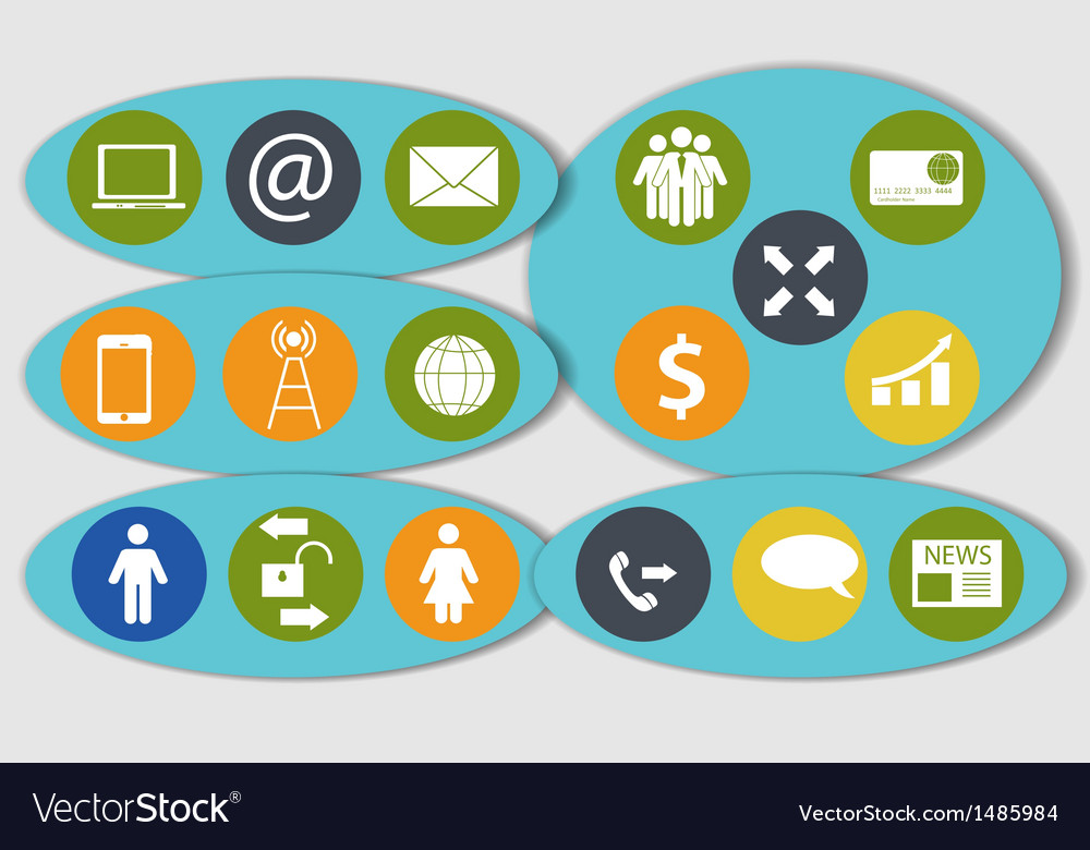 Different business finance and communication icons vector | Price: 1 Credit (USD $1)