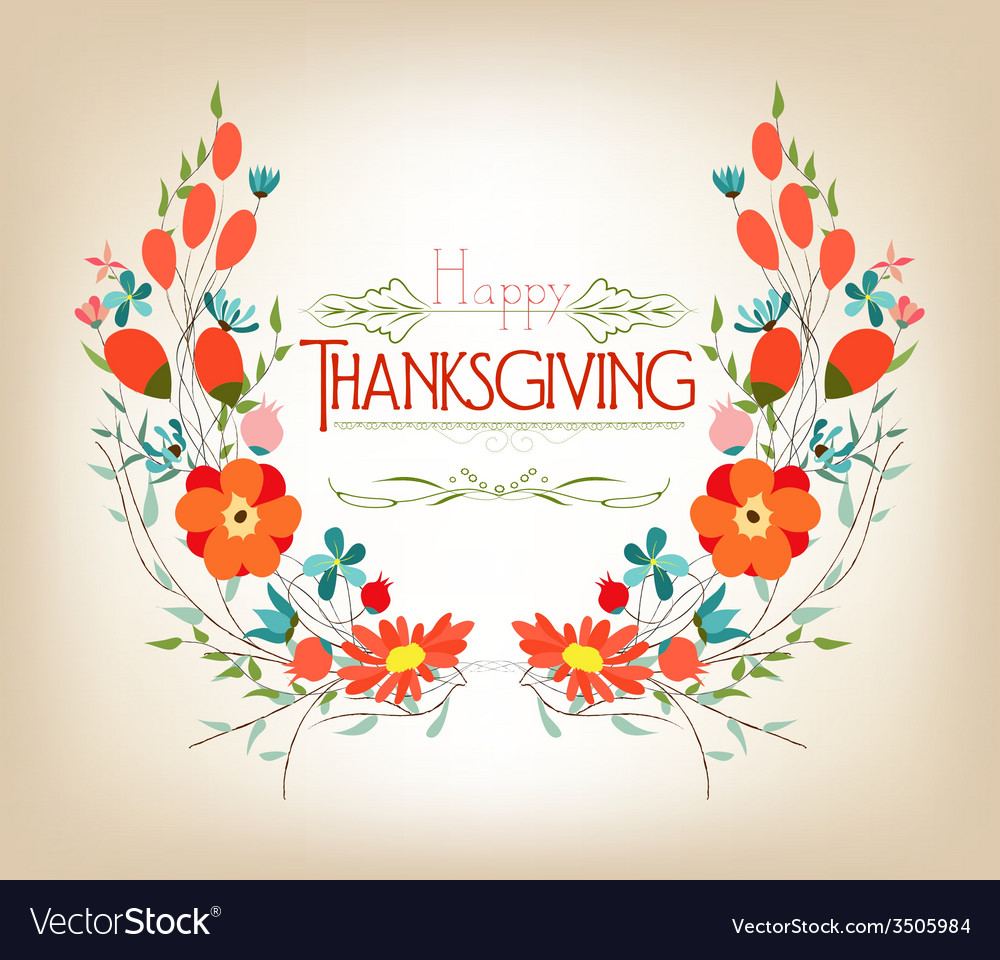Floral background thanksgiving greeting card with vector