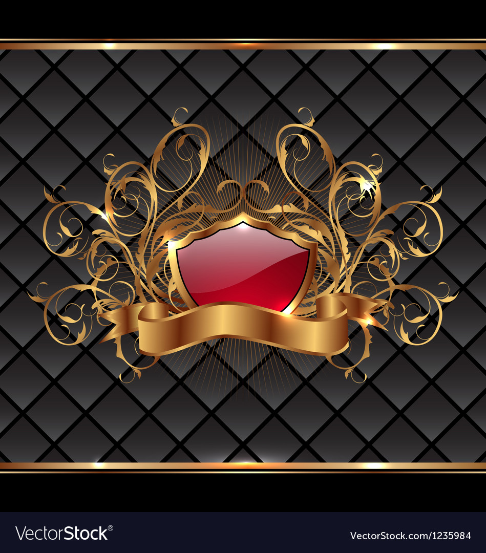 Gold elegance frame with heraldic shield vector | Price: 1 Credit (USD $1)
