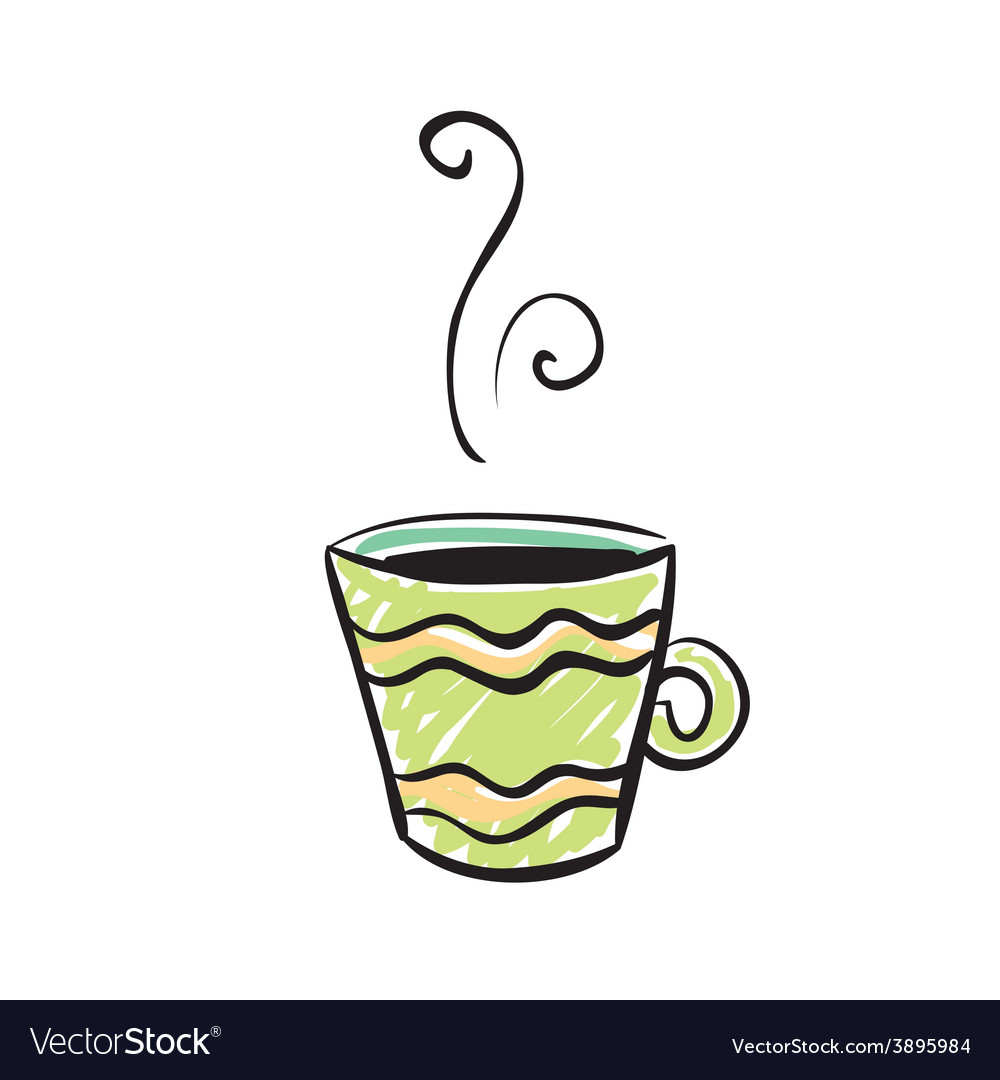 Green cup sketchy design vector | Price: 1 Credit (USD $1)