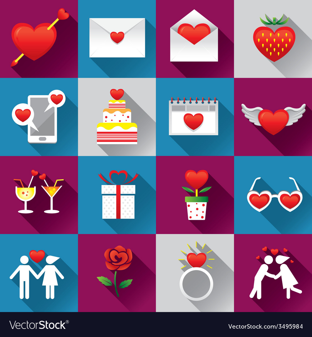 Love objects icons set vector | Price: 1 Credit (USD $1)