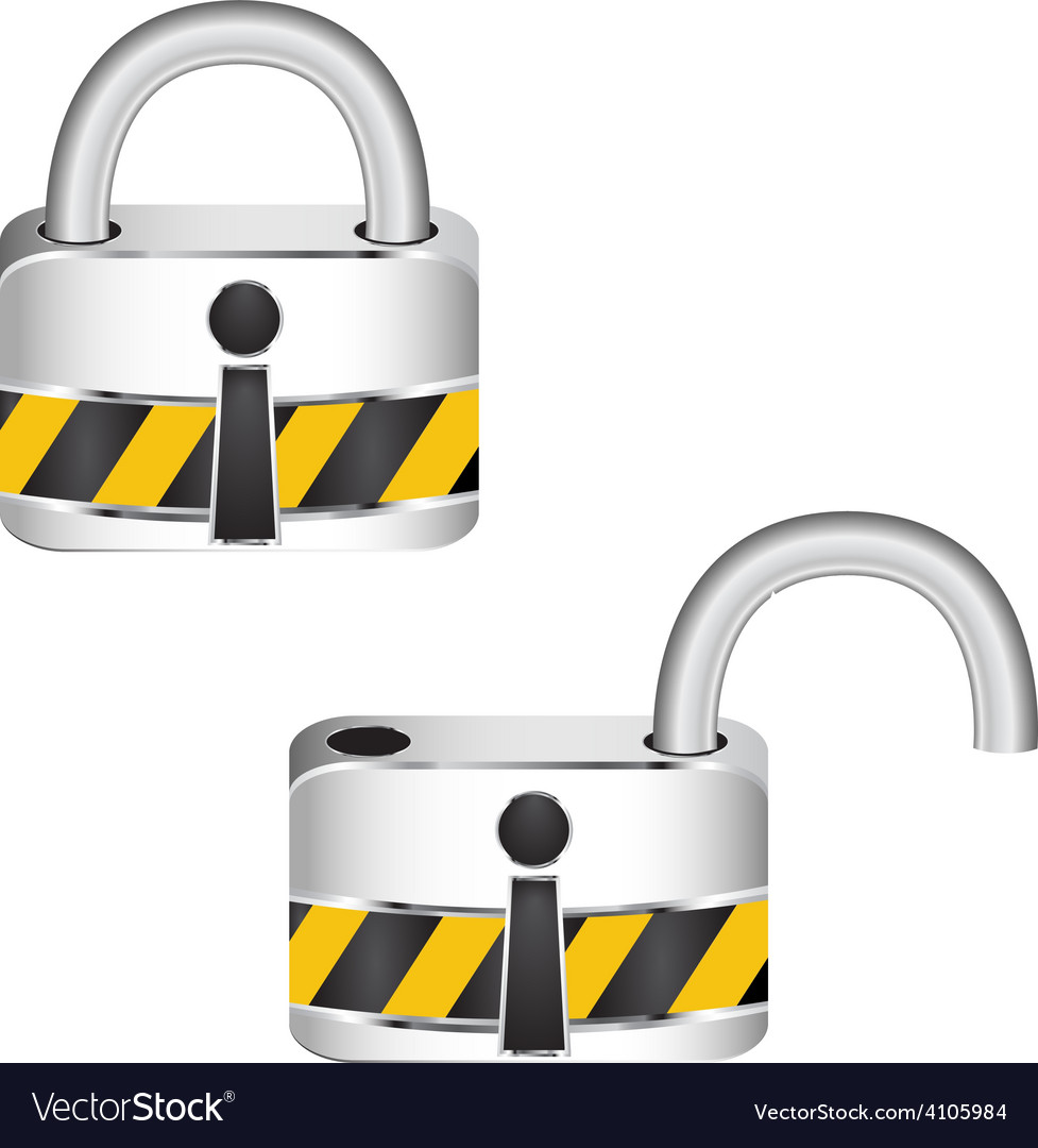 Metal security locked and unlocked vector | Price: 1 Credit (USD $1)
