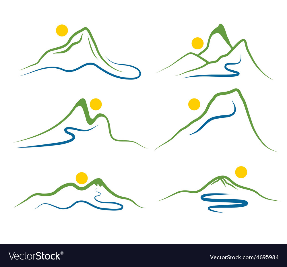 Set of mountains and sun vector | Price: 1 Credit (USD $1)