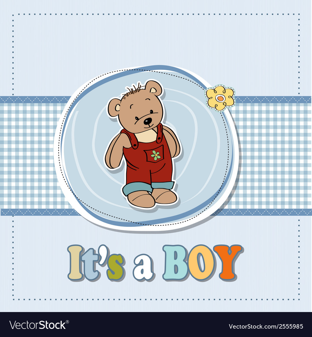 Baby boy shoawer card with teddy bear vector | Price: 1 Credit (USD $1)