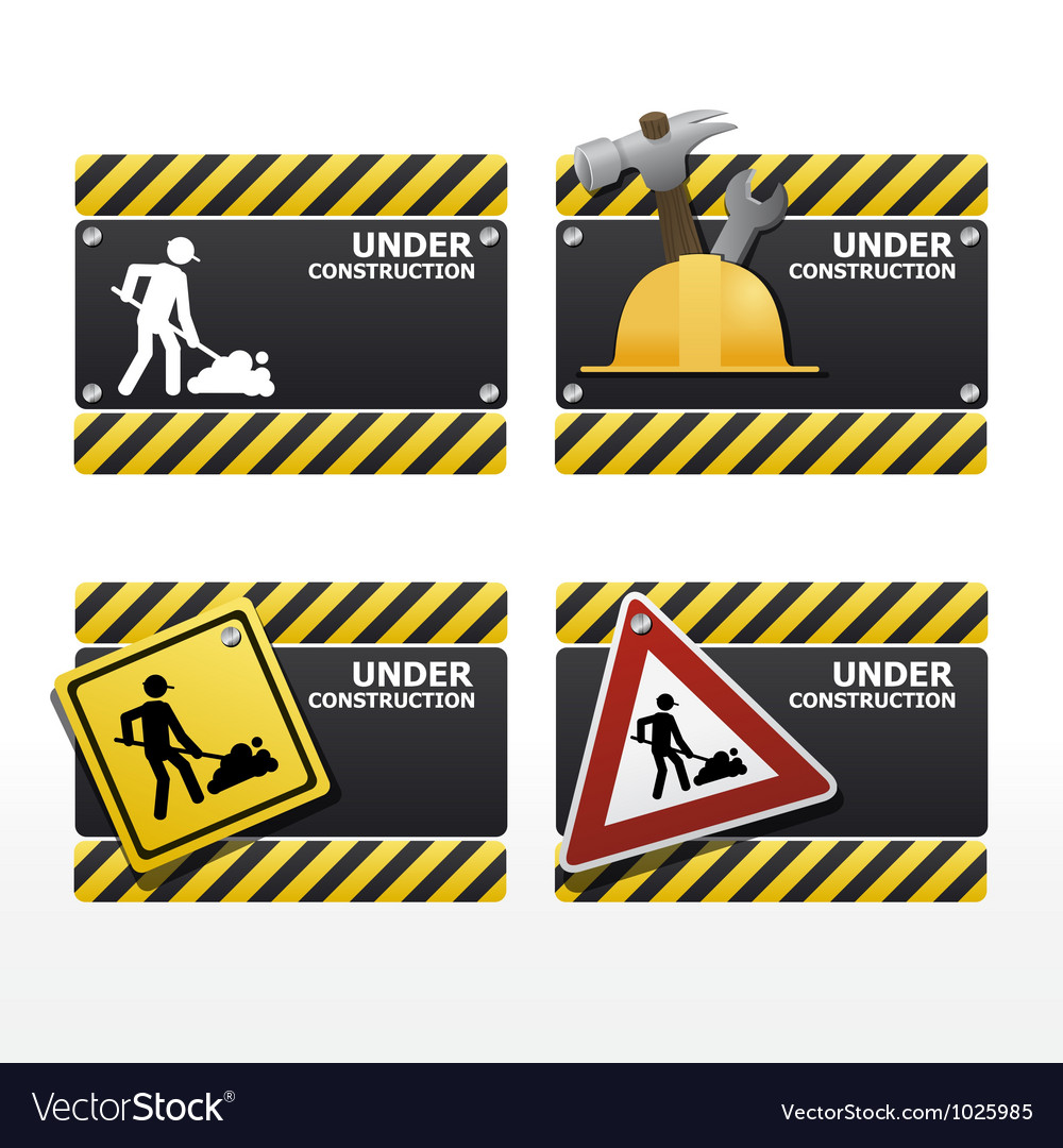 Beware traffic sign under construction set vector | Price: 1 Credit (USD $1)