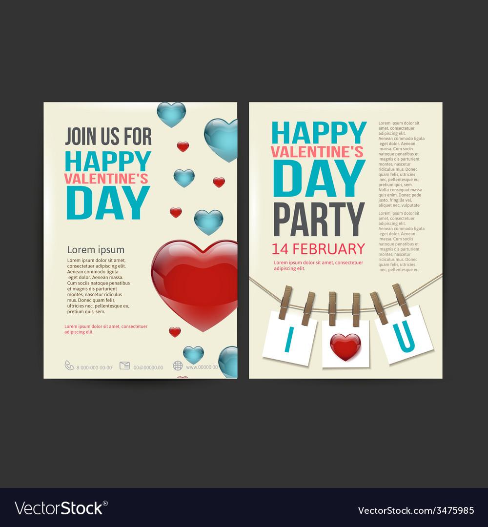 Brochure flyer happy valentines day design vector | Price: 1 Credit (USD $1)