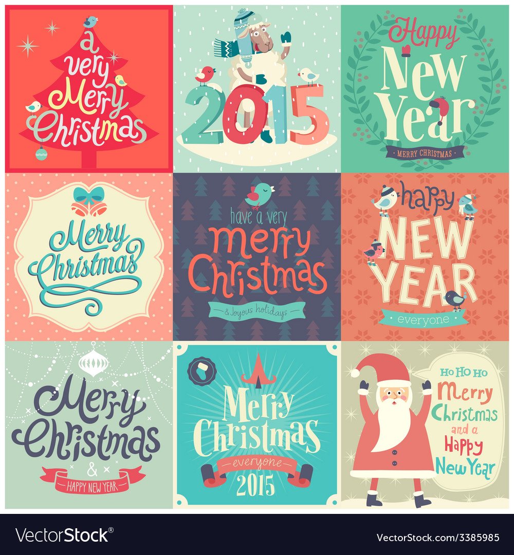 Christmas funny emblems set vector | Price: 3 Credit (USD $3)