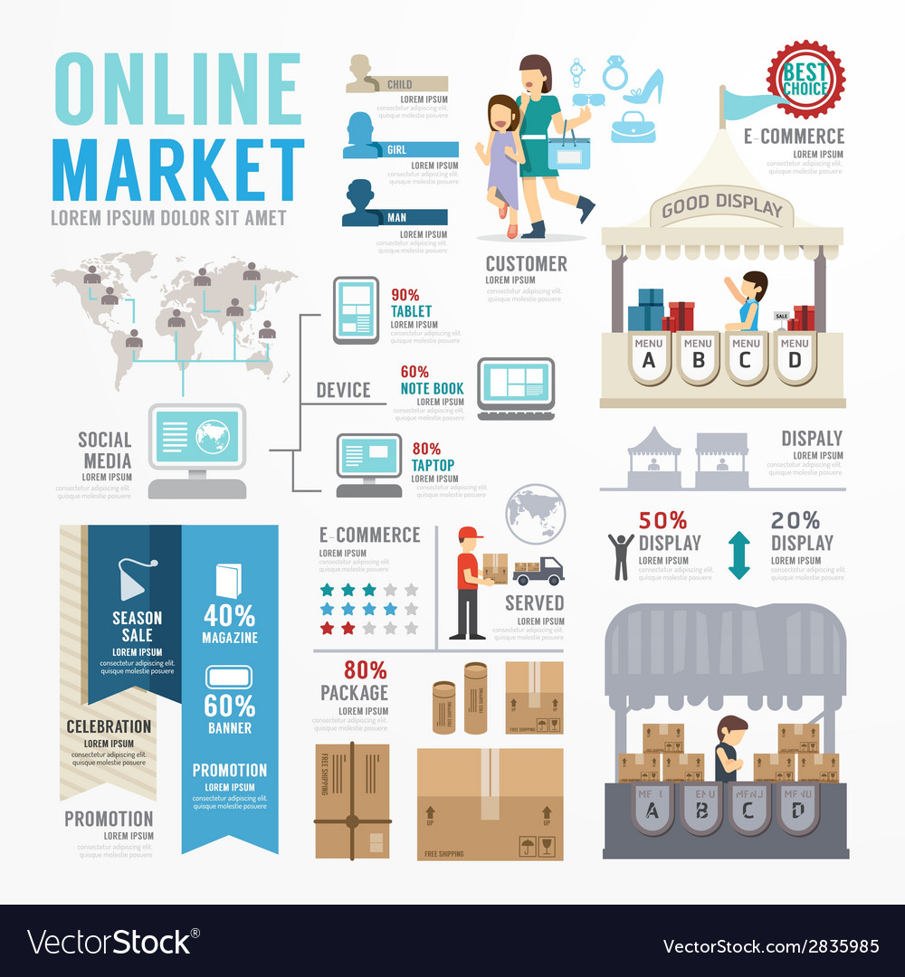 Ecommerce online template design infographic vector | Price: 1 Credit (USD $1)