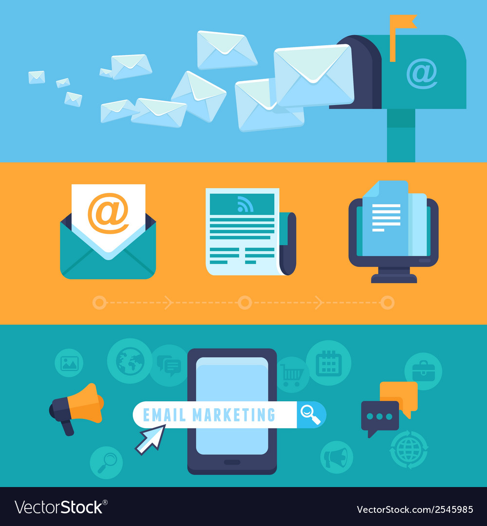 Email marketing concepts - flat icons vector | Price: 1 Credit (USD $1)