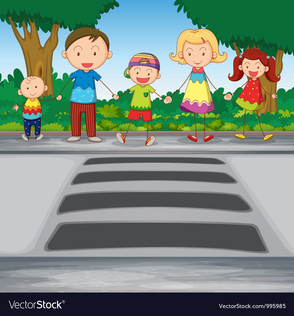 Family crossing road vector   Price: 3 Credit (USD $3)
