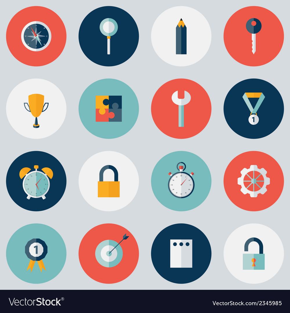 Flat circle business icon set vector | Price: 1 Credit (USD $1)