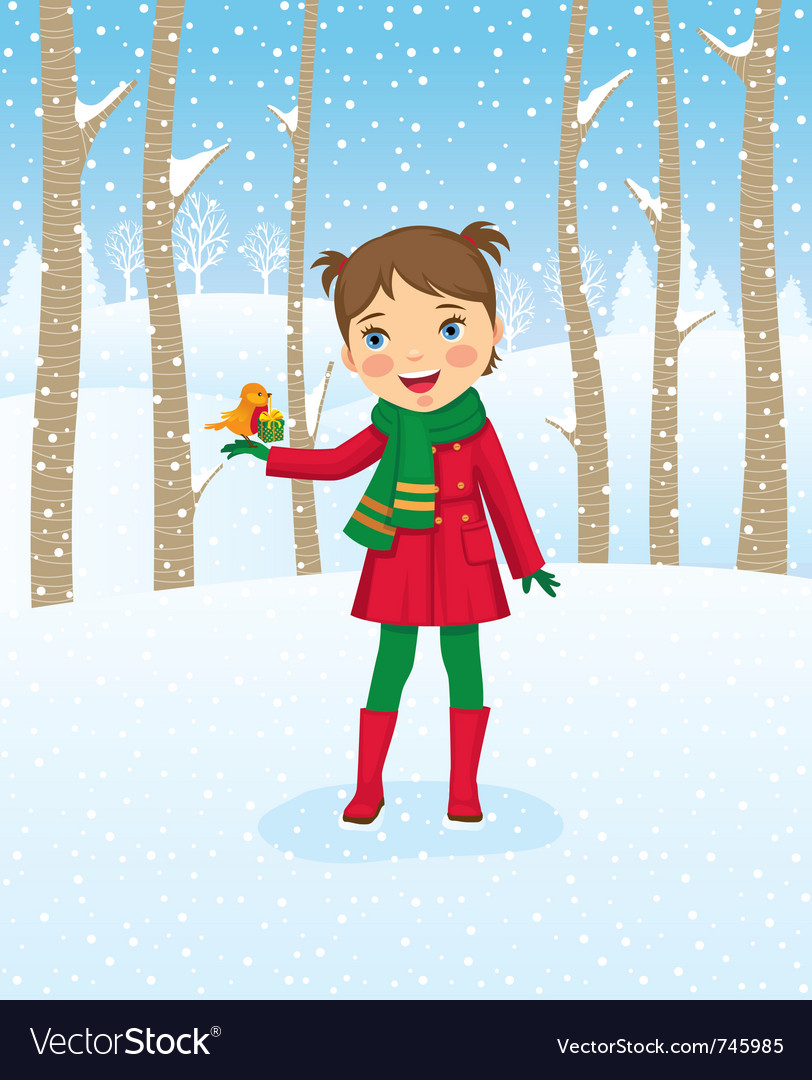 Girl walking in winter forest vector | Price: 3 Credit (USD $3)