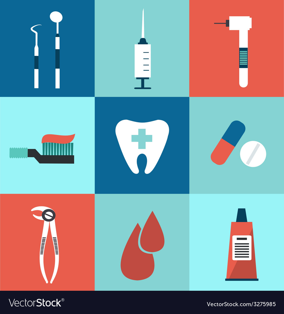 Icons dentist vector | Price: 1 Credit (USD $1)