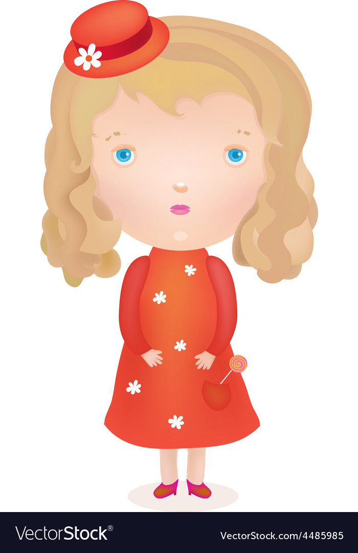 Little cute blond girl in a red dress and hat vector | Price: 1 Credit (USD $1)