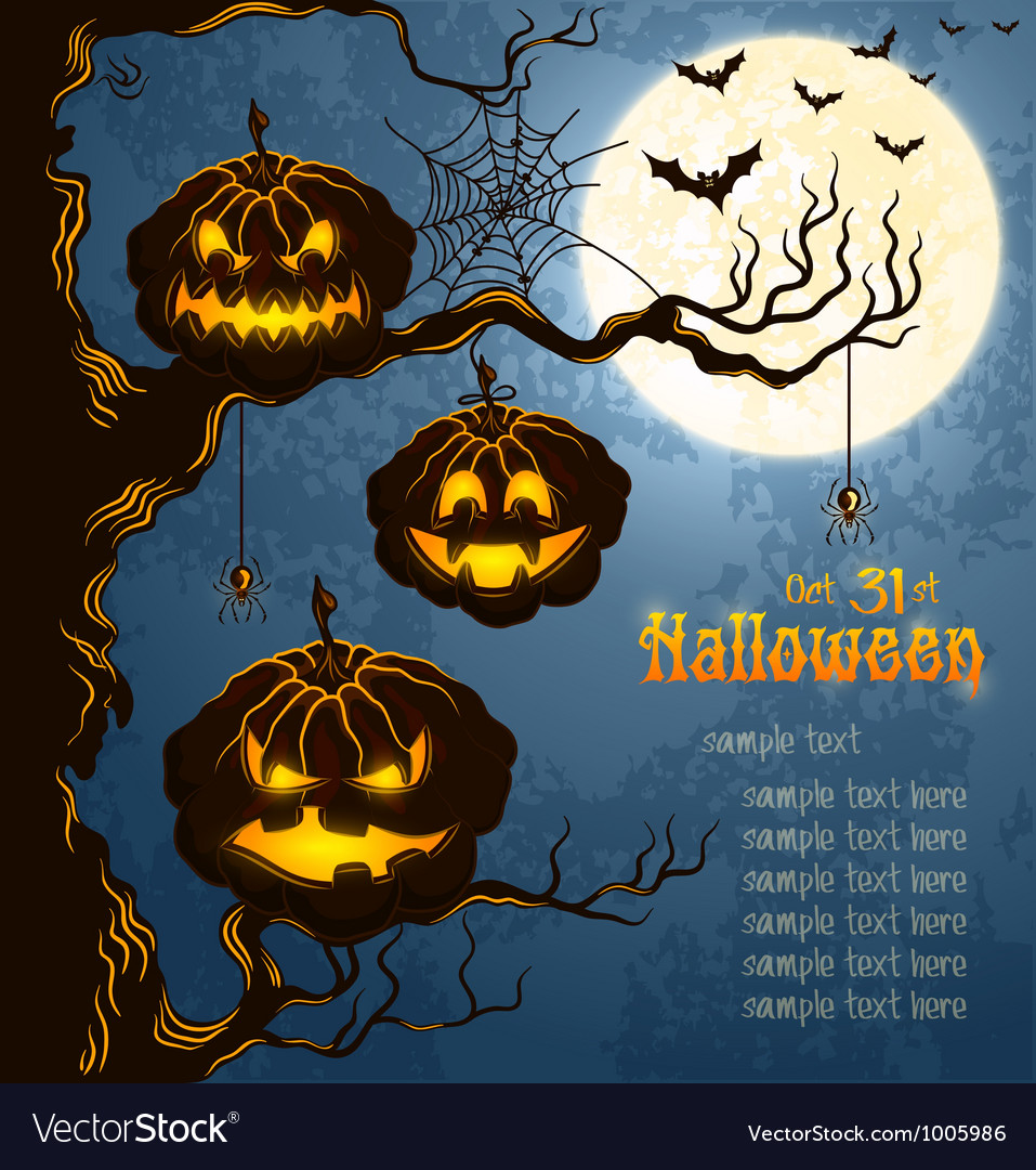 Blue grungy halloween background with pumpkins vector | Price: 1 Credit (USD $1)