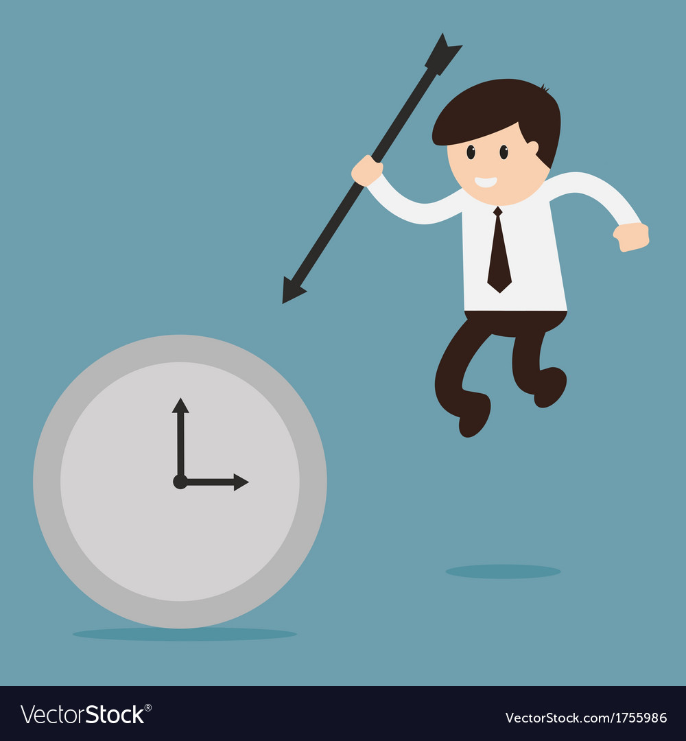 Businessman hold the arrow killing the time vector | Price: 1 Credit (USD $1)
