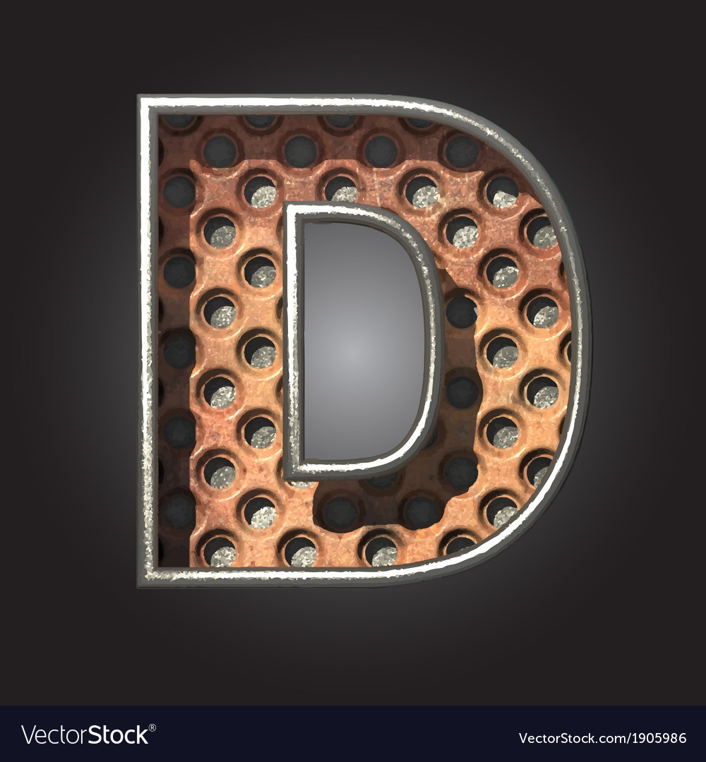 Old metal letter d vector | Price: 1 Credit (USD $1)