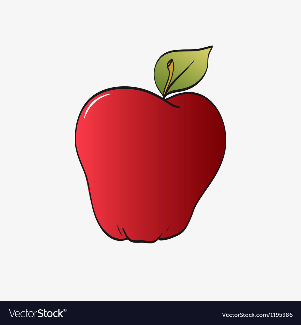 Red apple isolated on a white vector | Price: 1 Credit (USD $1)