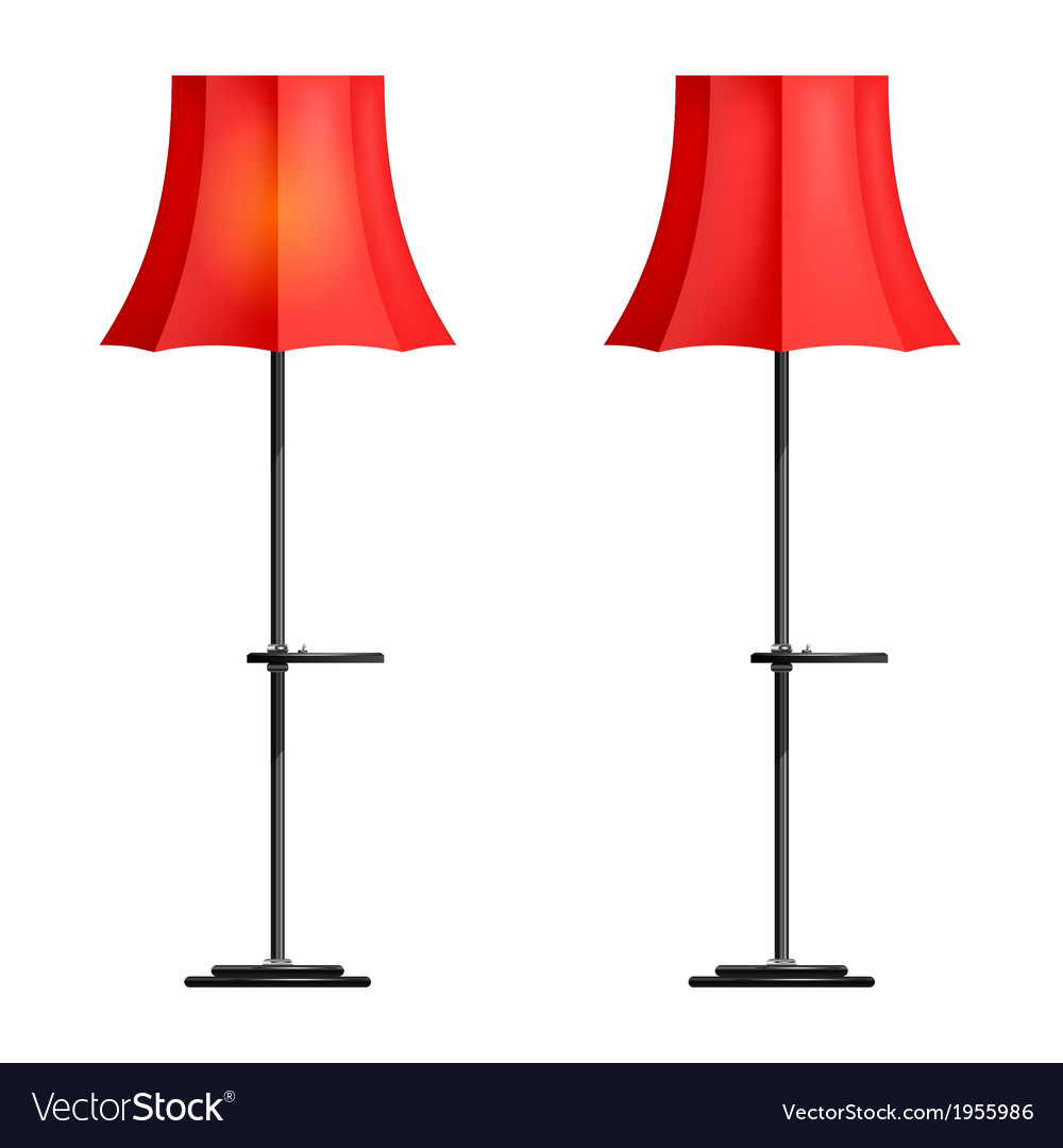 Red floor lamp on a white background vector | Price: 1 Credit (USD $1)