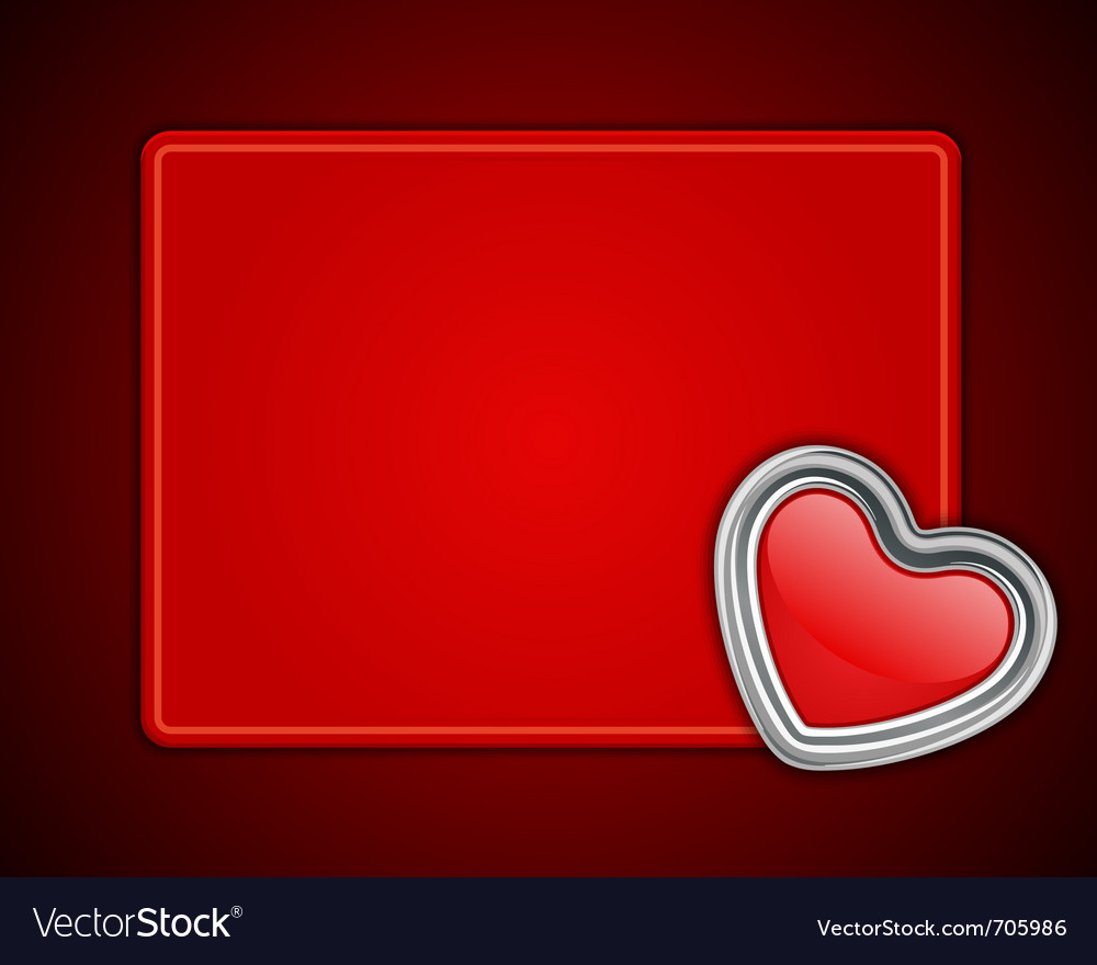 Red shiny heart shape on card vector | Price: 1 Credit (USD $1)