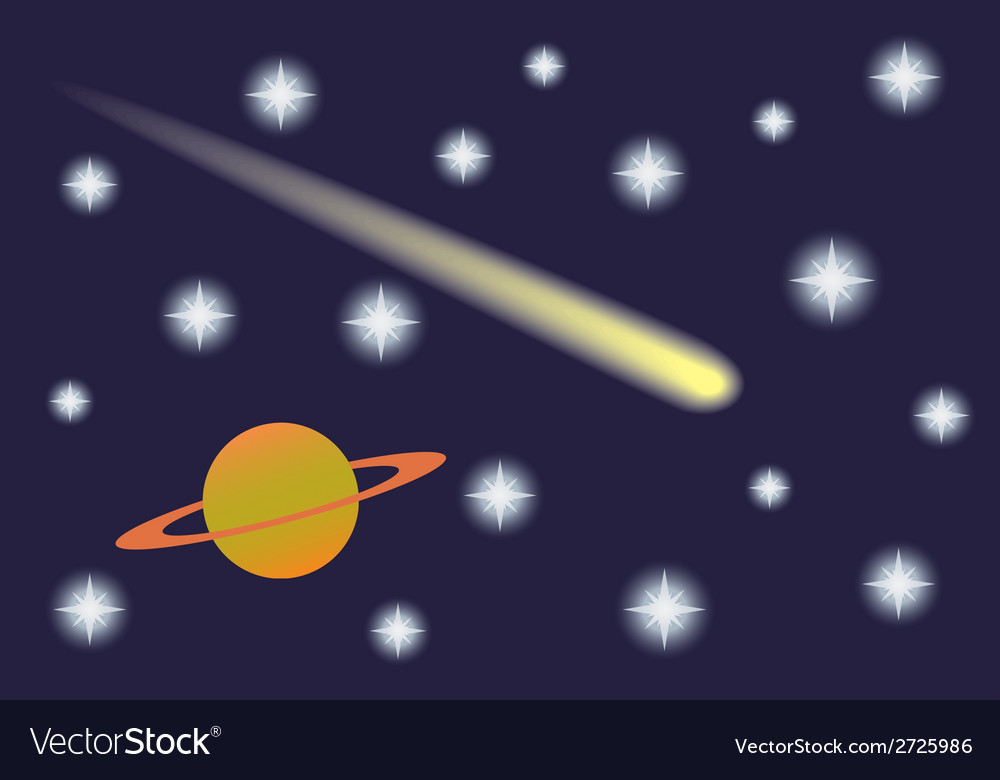 Saturn and comet in the starry sky vector | Price: 1 Credit (USD $1)