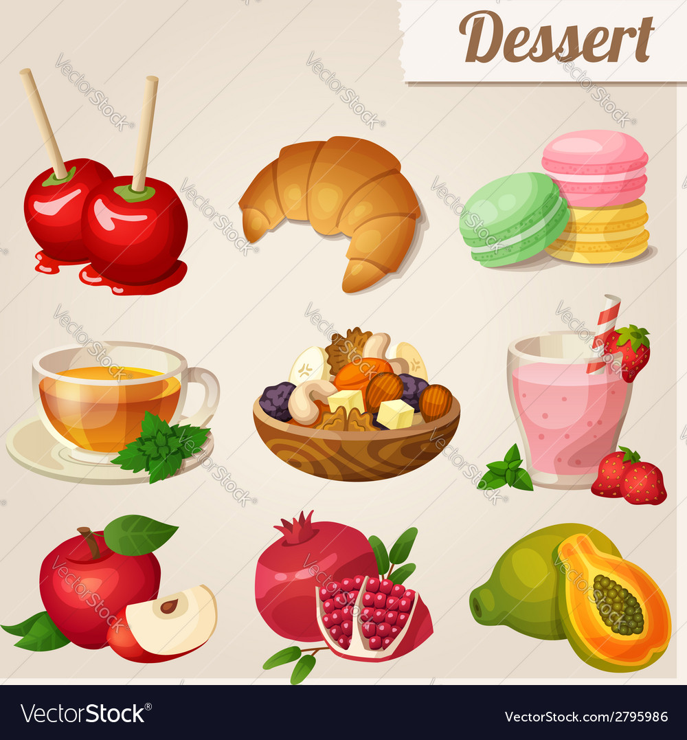 Set of different food icons dessert vector | Price: 3 Credit (USD $3)
