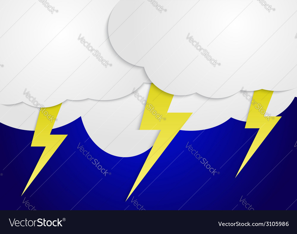 Storm clouds with yellow lightning bolts vector | Price: 1 Credit (USD $1)