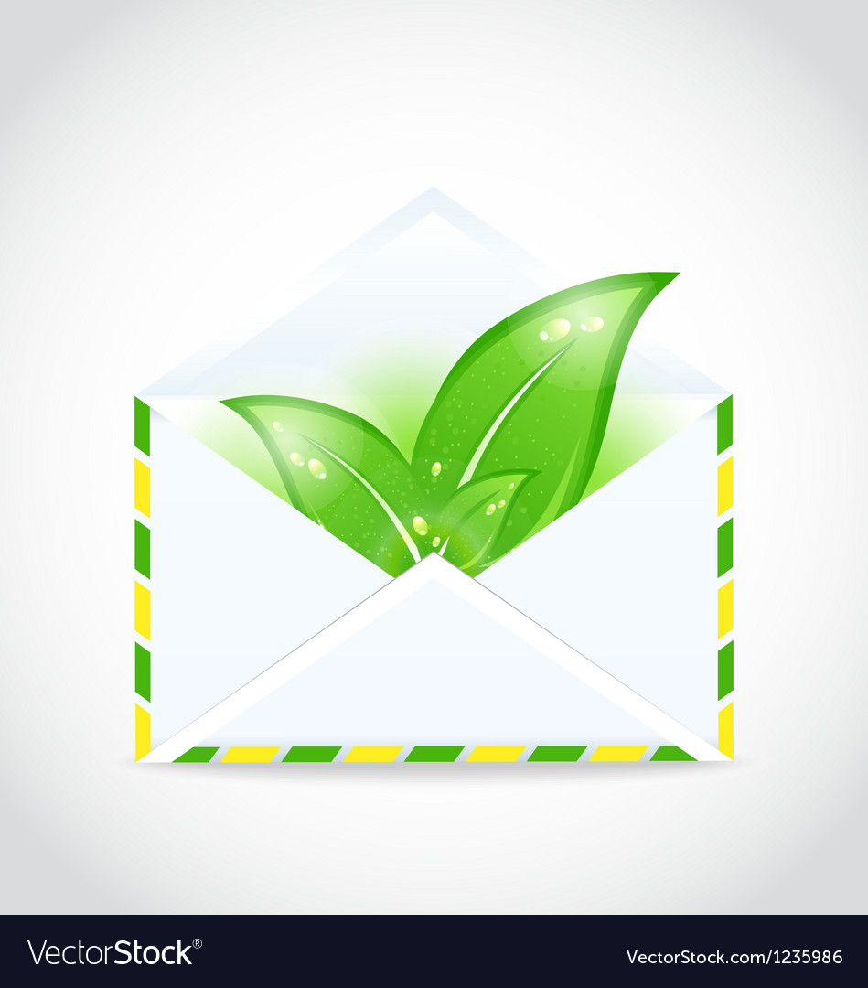 Summer letter with green leaves vector | Price: 1 Credit (USD $1)