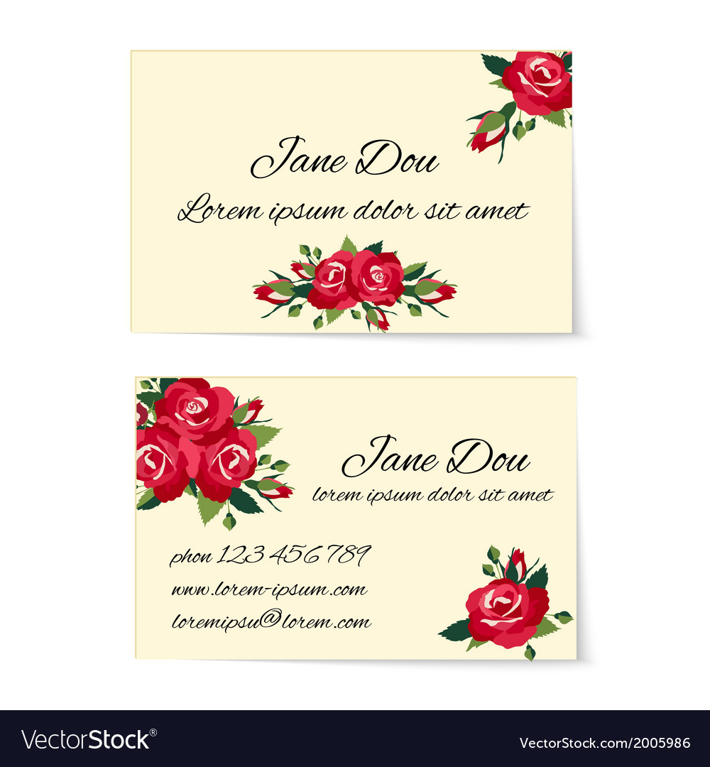 Two business card templates with red roses vector | Price: 1 Credit (USD $1)