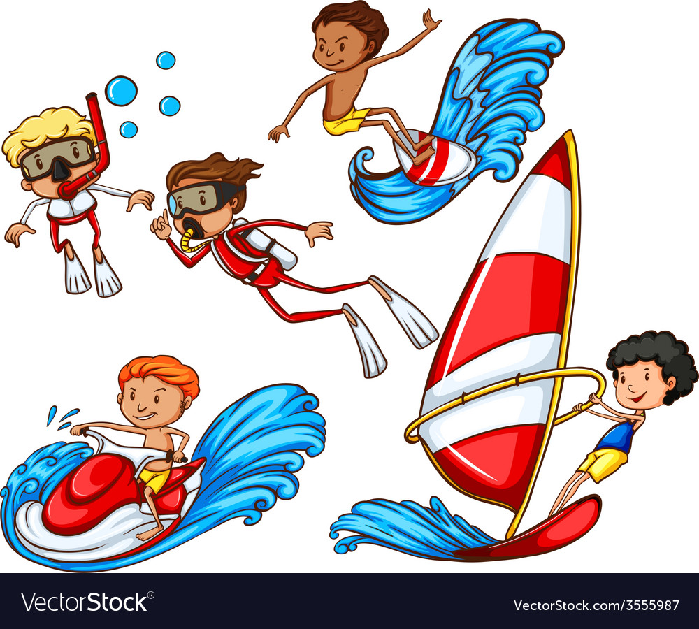 A group of people doing watersports vector | Price: 1 Credit (USD $1)
