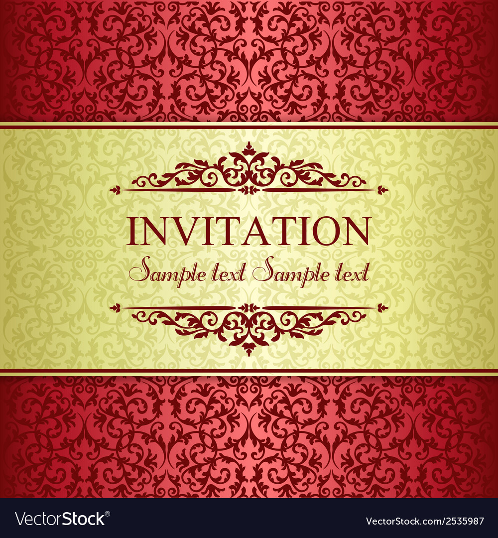 Baroque invitation gold and red vector | Price: 1 Credit (USD $1)