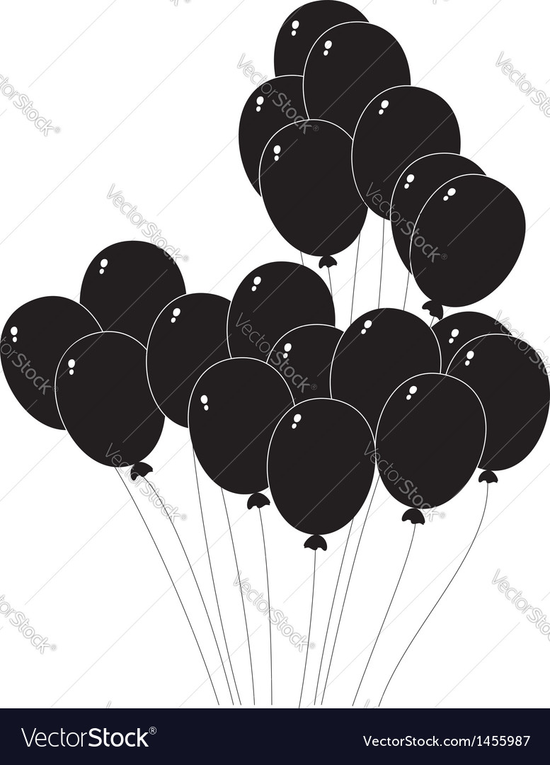 Black silhouette of a balloons vector | Price: 1 Credit (USD $1)