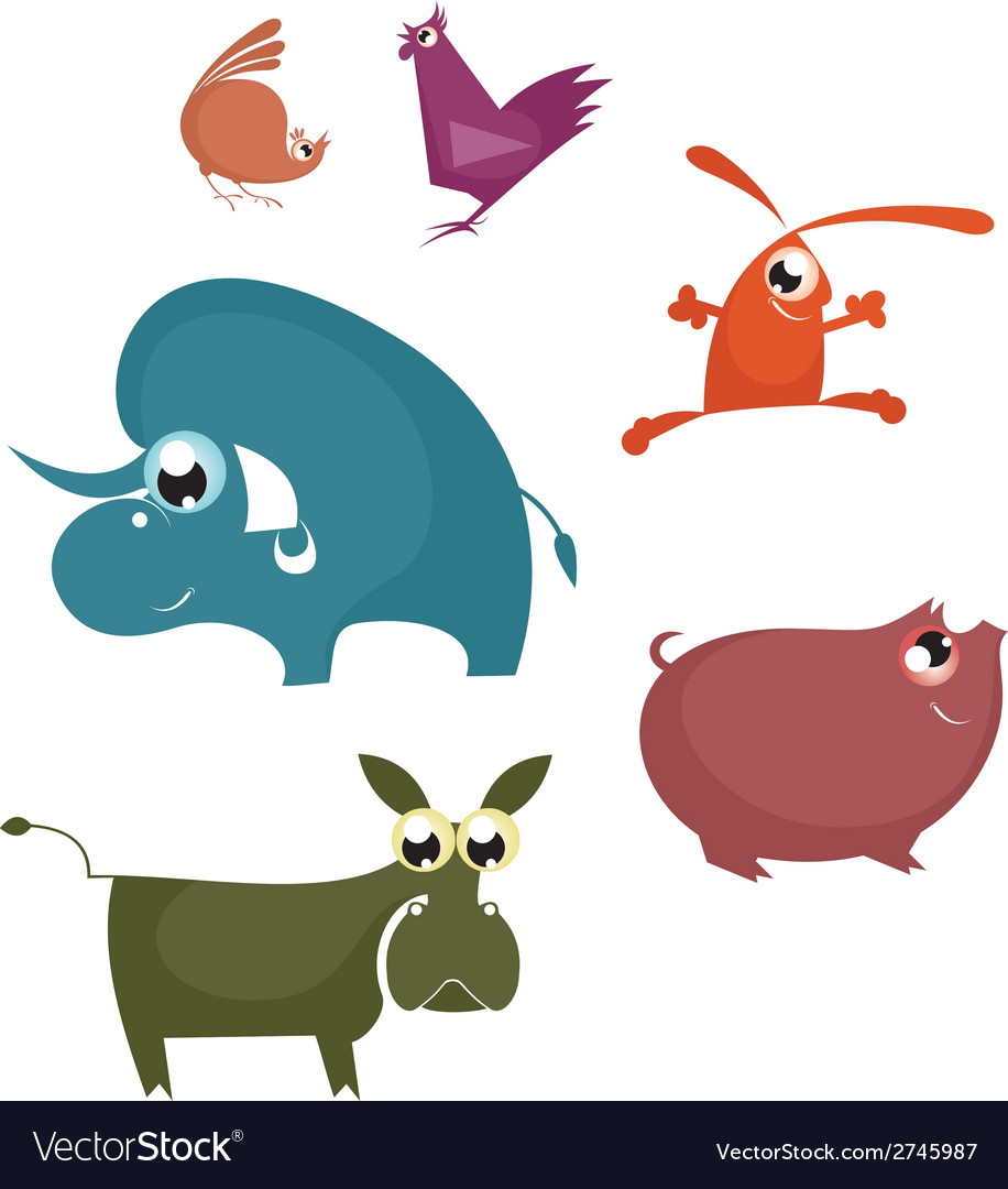 Cartoon funny farm animals vector | Price: 1 Credit (USD $1)