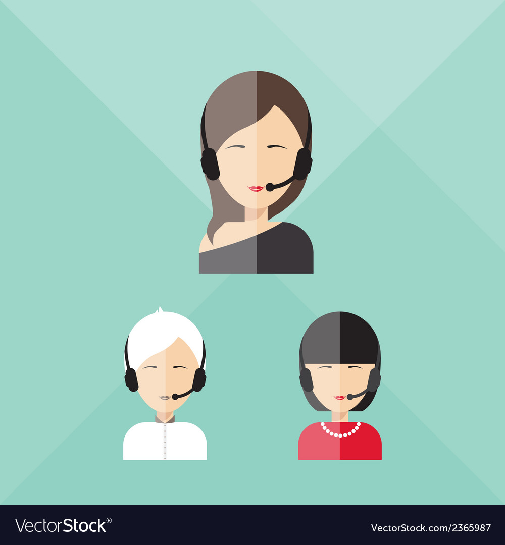 Charming girl telephone operator call center vector | Price: 1 Credit (USD $1)