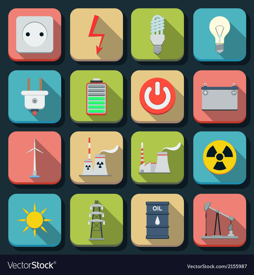 Energy flat icons vector | Price: 1 Credit (USD $1)