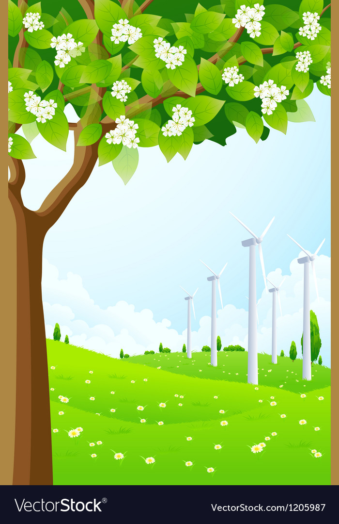Green landscape with wind power plant vector | Price: 1 Credit (USD $1)