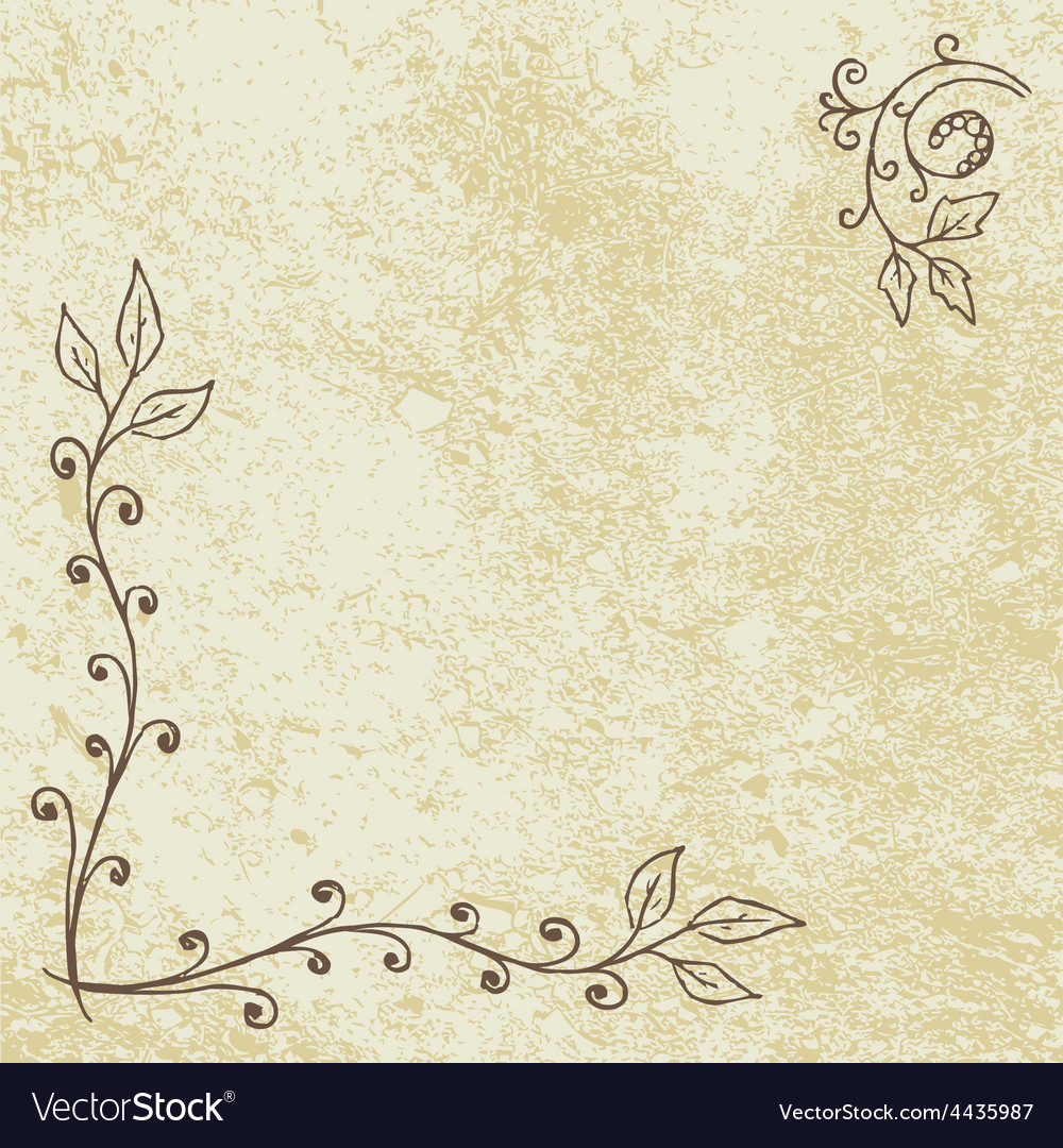 Grunge floral background with empty space vector | Price: 1 Credit (USD $1)
