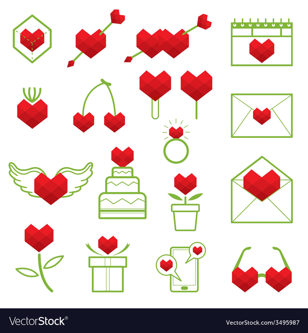 Heart shape polygon love objects line icons set vector | Price: 1 Credit (USD $1)