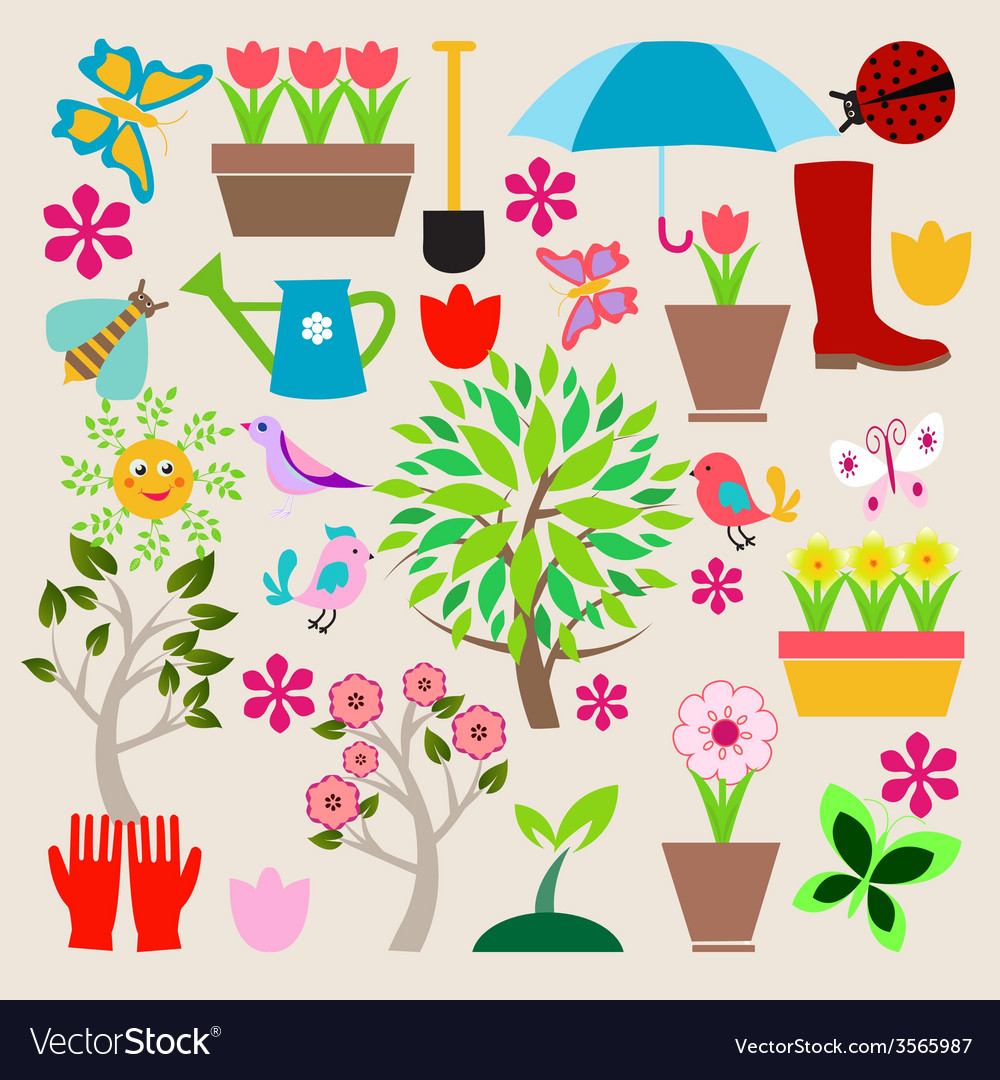 Icons set elements spring gardening vector | Price: 1 Credit (USD $1)