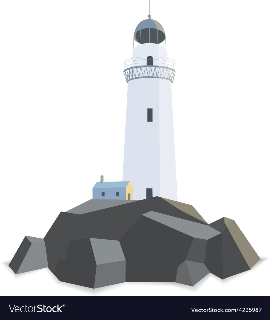 Lighthouse with house on rocks isolated flat vector | Price: 1 Credit (USD $1)