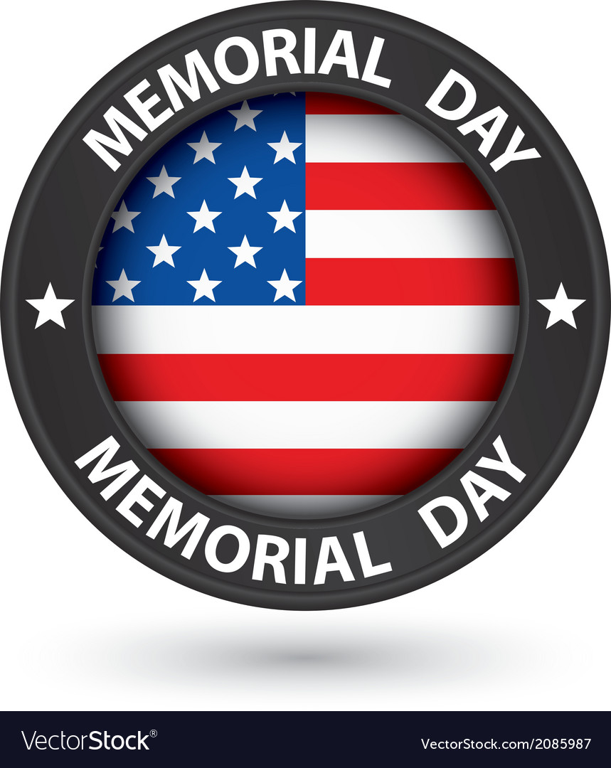 Memorial day black label with usa flag vector | Price: 1 Credit (USD $1)