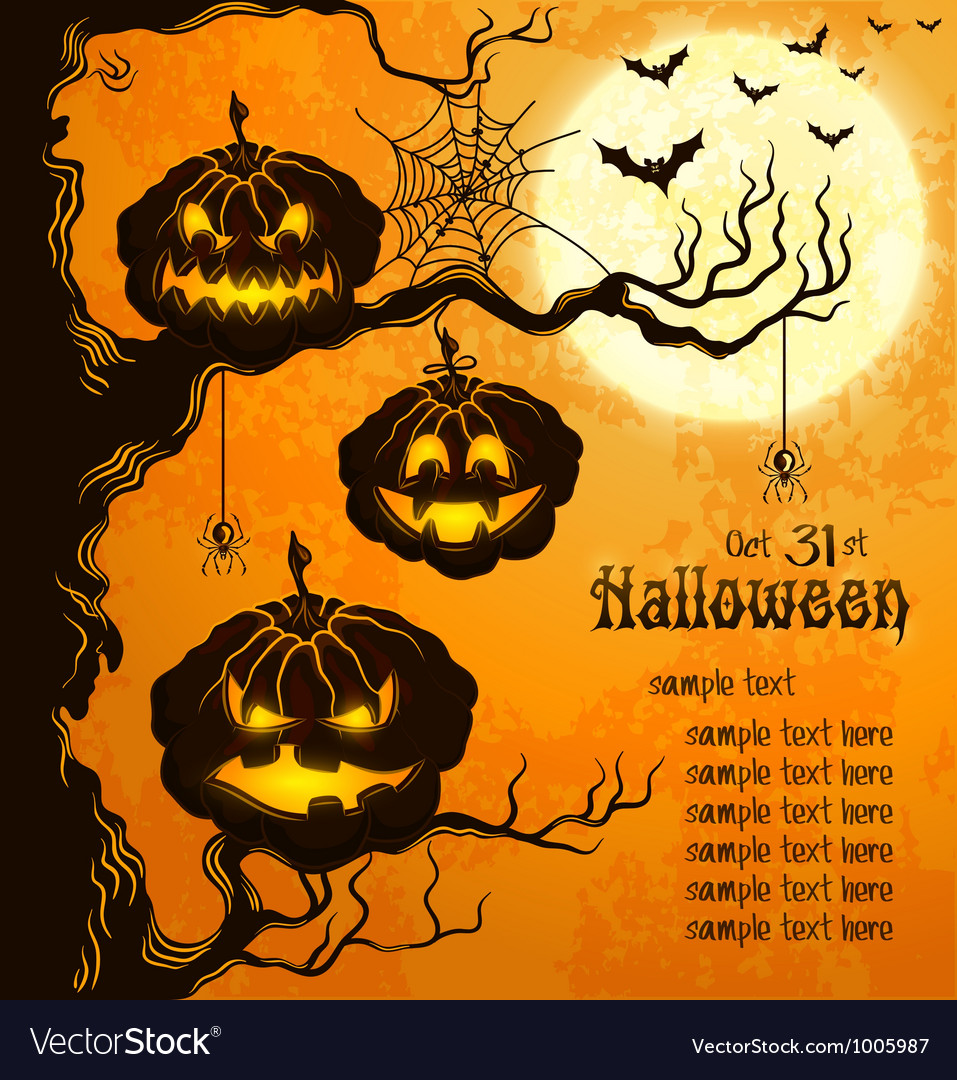 Orange grungy halloween background with pumpkins vector | Price: 1 Credit (USD $1)