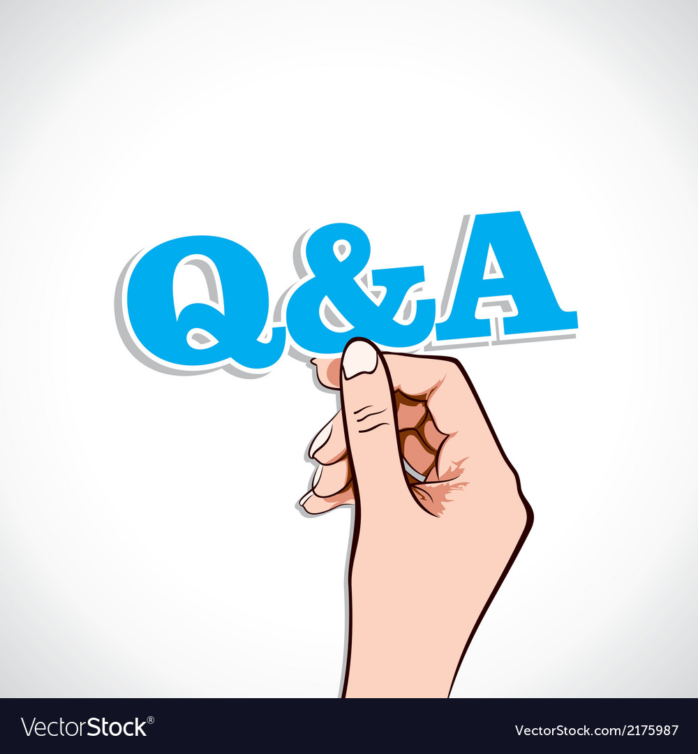 Q and a word in hand vector | Price: 1 Credit (USD $1)